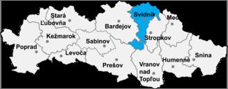 Ladomirová - Location of Svidník District in the Prešov Region.