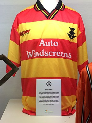 Partick Thistle F.C. - A Thistle home kit during the 1997–1999 spell. Sponsorship by Auto Windscreens is displayed on the chest.
