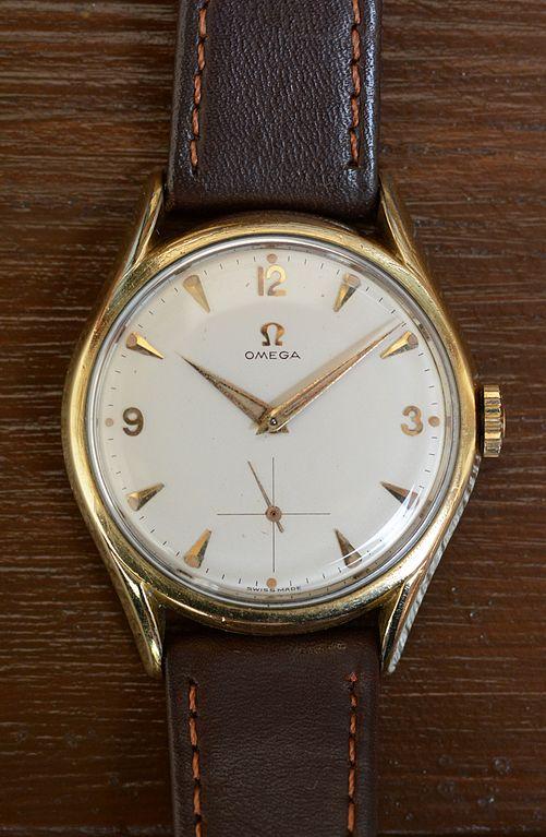 Omega Uhr Kaliber 267 aus 18kt Geldgold und Lederarmband