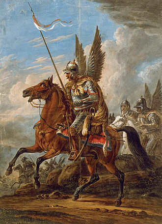 Polish cavalry - Polish Winged Hussar, wings visible. Painting by Aleksander Orłowski