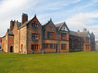 Ordsall Hall - A view of the west side of the west wing, with the Great Hall in the centre