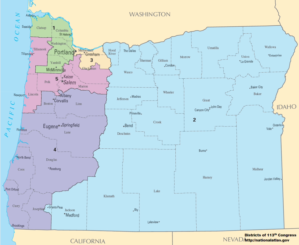 Unity Oregon Map.Oregon S Congressional Districts Wikipedia