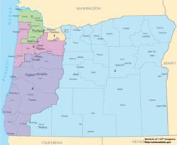 Oregon Us Representatives District Map Oregon's congressional districts   Wikipedia