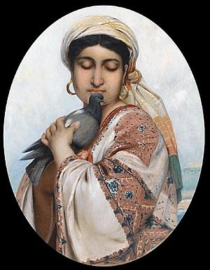 Polydore Beaufaux - Oriental Girl with a Dove  (date unknown)