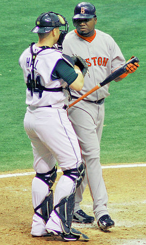 David Ortiz - Ortiz (right) with then-Tampa Bay Devil Rays catcher Toby Hall in 2006