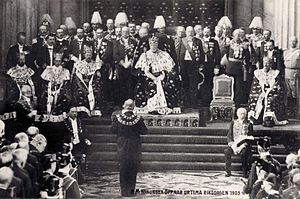 History of the Riksdag - King Oscar II during the Solemn Opening of the Riksdag in the Throne Room of Stockholm Palace in 1905 for the speech from the throne. This annual ceremony was discontinued in 1975.