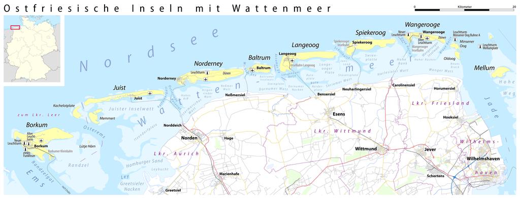 Ostfriesische Inseln (Karte)