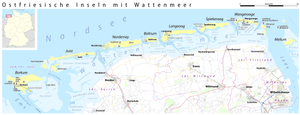 Gat (landform) - Map of the East Frisian Islands, showing the gats between the islands