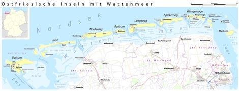 Ostfriesische Nordseeküste Karte.Ostfriesische Inseln Reiseführer Auf Wikivoyage