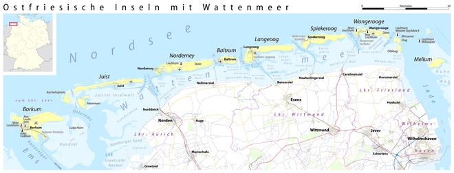Karte Nordseeküste Niedersachsen.Ostfriesische Inseln Wikipedia