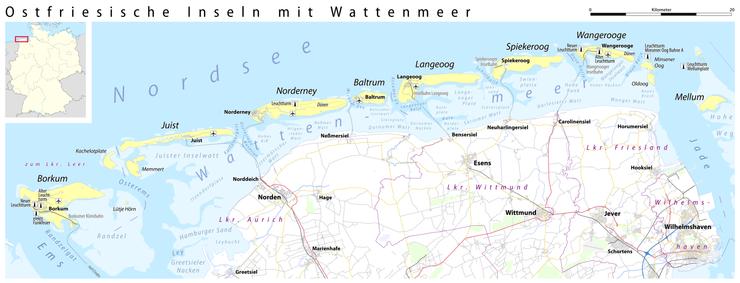 Juist Karte.East Frisian Islands Wikipedia