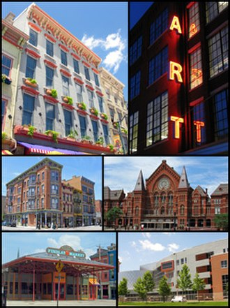 Over-the-Rhine - From upper left: Italianate architecture, the Art Academy of Cincinnati, the OTR Gateway Quarter, Music Hall, Findlay Market, and the School for Creative and Performing Arts