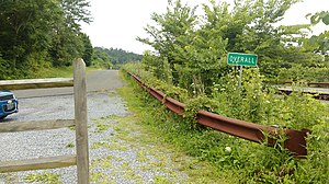 Overall, Virginia - Sign denoting Overall, Virginia, at the end of the demolished bridge (Page County Bridge No. 1004) over Jeremiah's Run.