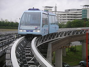 Birmingham International railway station - AirRail Link people mover system showing the track and pulley system