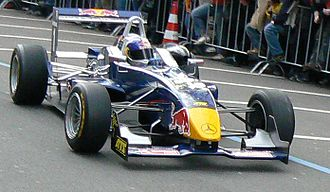 Red Bull Junior Team - Sebastian Vettel in a Formula 3 Euro Series car in 2006, featuring prominent Red Bull sponsorship.