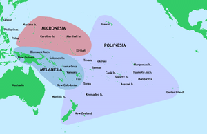 Pacific Islands - Three of the major groups of islands in the Pacific Ocean.