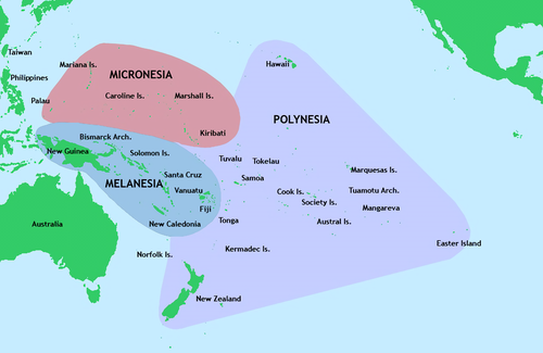 Micronesia is one of three major cultural areas in the Pacific Ocean, along with Polynesia and Melanesia Pacific Culture Areas.png
