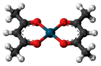 Ball-and-stick model of the palladium(II) acetylacetonate complex