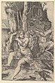 Pan spying of the nymph Syrinx who is seated on a rock, combing her hair MET DP820275.jpg