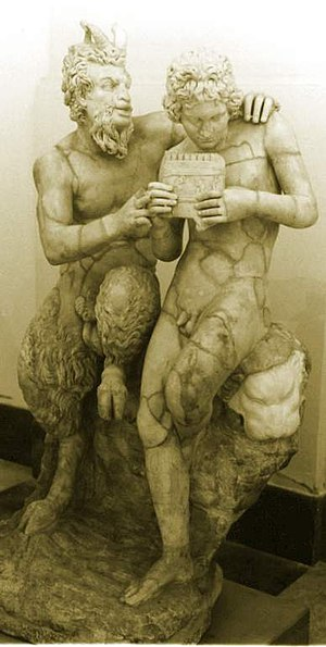 Daphnis - Sculpture of Pan teaching Daphnis to play the pipes; ca. 100 B.C. Found in Pompeii