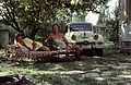 Panhard-brand, deck chair, number plate, colorful, women Fortepan 92132.jpg
