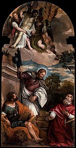 Paolo Veronese - Sts Mark, James and Jerome with the Dead Christ Borne by Angels - WGA24832.jpg