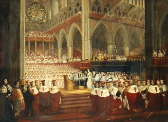 The Coronation of Queen Victoria, surrounded by Peers of the Realm in Westminster Abbey, June 28, 1838 Parris - Coronation of Queen Victoria.PNG