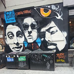 Paul's Boutique - On July 26, 2014, mural artist Danielle Mastrion created a mural in celebration of the 25th anniversary of the Beastie Boys' landmark album Paul's Boutique. It was painted on the corner of Ludlow and Rivington, where the original album cover was photographed.