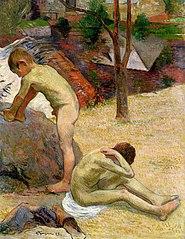 Breton boys bathing