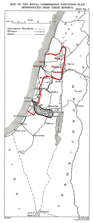 1937 Ben-Gurion letter - Peel Commission Report partition proposal. The red line shows the proposed Jewish State.
