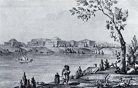 Дворец в Пелле. Рисунок Дж. Кваренги.