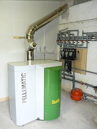 Pellet stove - Pellet burning central heating system in basement of family home