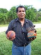 Pelota mixteca ball, glove, & player (S Kraft)