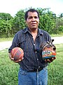 Pelota mixteca ball, glove, & player (S Kraft).jpg