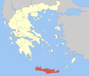 Localização de Creta na Grécia