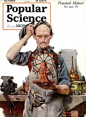History of perpetual motion machines - Cover of the October 1920 issue of Popular Science magazine