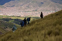 Cusco as seen from the Cachimayo District north of the town (near Chaypa and the mountain Sirk'a)