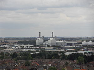Peterborough Power Station - The power station, as seen from the central tower of Peterborough Cathedral.