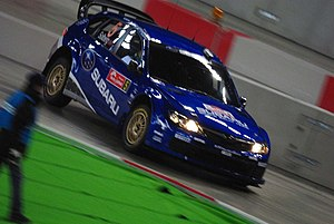 2008 Rally Japan - Petter Solberg at the Sapporo Dome.