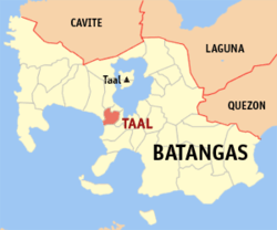 Map of Batangas showing the location of Taal.