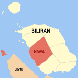 Map of Biliran with Naval highlighted