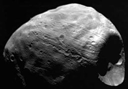 Viking 1 image of Phobos, with Stickney to the right