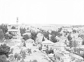 Street of the Prophets - The Italian Hospital (left) overlooking the neighborhood of Musrara, circa 1950.