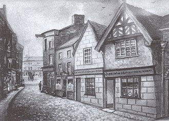 1–5 Pillory Street, Nantwich - Chesters' Stores (centre) and the demolished pubs (right) from a painting by Herbert St John Jones (1872–1939)