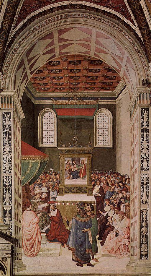 Pinturicchio, Libreria Piccolomini, Enea Silvio riceve il cappello cardinalizio