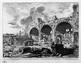 Colossus of Constantine - An 18th century engraving of The Basilica of Maxentius-the western apse would have been at the left
