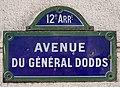 Plaque Avenue Général Dodds - Paris XII (FR75) - 2021-01-22 - 1.jpg