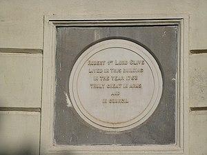 Robert Clive - Plaque at Clive House