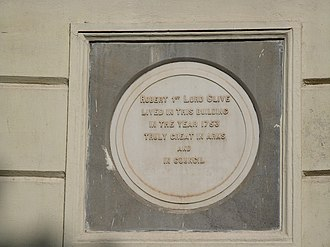 Robert Clive - Plaque at Clive House