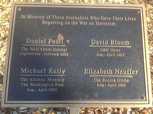 David Bloom - Plaque at War correspondents Memorial Gathland State Park